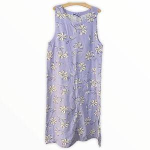 Erika&Co 90s Floral Linen Blend Button Side Dress